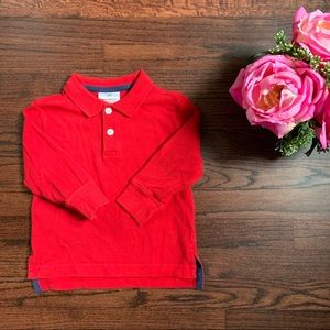 Hanna Andersson long sleeved red polo shirt, 90/3T